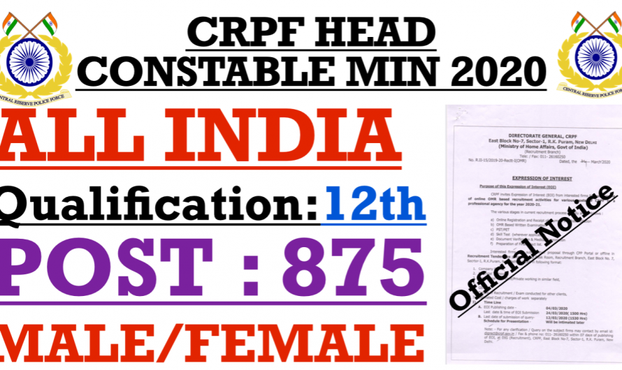 CRPF Head Constable Ministerial Recruitment 2020